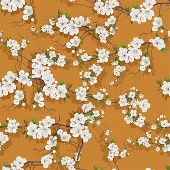 Nahtloses muster der weißen pfirsichblüten-blume
