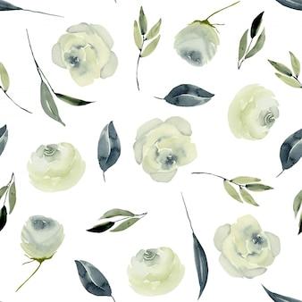 Nahtloses muster der weißen rosen des aquarells