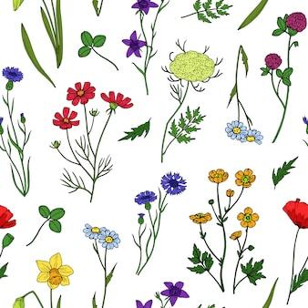 Nahtloses muster der wilden blumen. blumen wildblumen vintage tapete. botanische textilbeschaffenheit des sommers, des frühlings