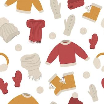 Nahtloses muster der winterkleidung.