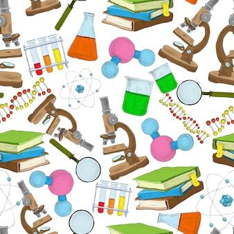 Nahtloses muster der wissenschaftsskizze