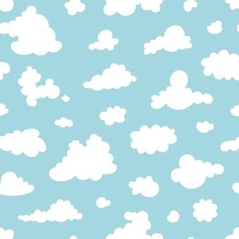 Nahtloses muster der wolken auf dem blauen himmel. muster.