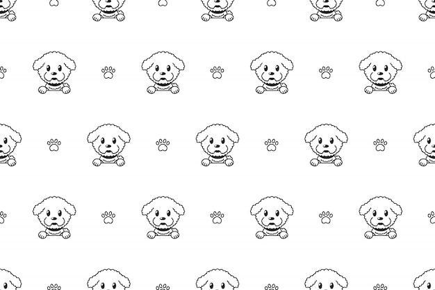 Nahtloses muster der zeichentrickfilm-figur bichon frise-hund