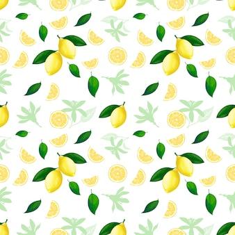 Nahtloses muster der zitrone. zitronencocktail zitrusfrucht textur sommergelb frisch sich wiederholenden hintergrund