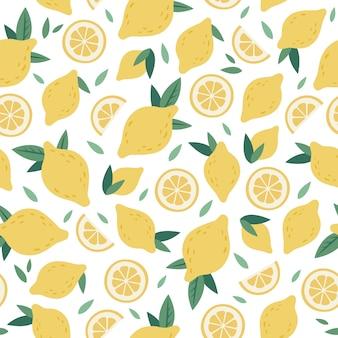 Nahtloses muster der zitrusfrüchte. lustige handgezeichnete grafiken der zitronenkarikatur, dekorativer gekritzeldruck mit saftiger gelber zitrusfrucht, frischen zitronen und hintergrundillustration der grünen blätter. tropische frucht textur