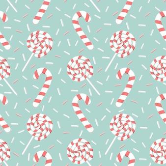 Nahtloses muster der zuckerstange und des süßen lutschers, weihnachtshonighintergrund