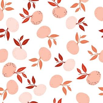 Nahtloses muster der zufälligen rosa mandarinen im abstrakten handgezeichneten stil