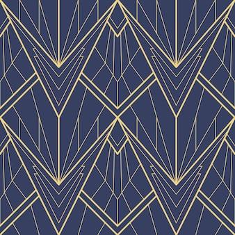 Nahtloses muster des abstrakten blauen art deco