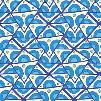Nahtloses muster des abstrakten dreiecks, vektorillustration. nahtloser hintergrund der blauen gekritzelraute.