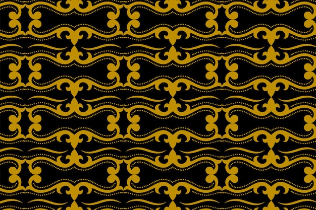 Nahtloses muster des abstrakten geometrischen goldes und des schwarzen batiks der art deco. javanische verzierung