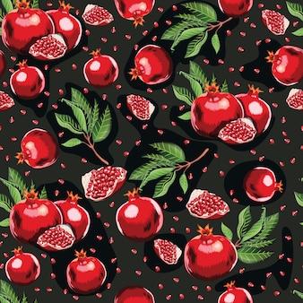 Nahtloses muster des abstrakten hellen bunten granatapfels