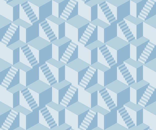 Nahtloses muster des abstrakten treppenwürfels