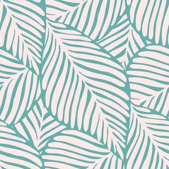Nahtloses muster des abstrakten tropischen blattes. exotische pflanze. tropisches muster, palmblätter nahtloser vektorblumenhintergrund.