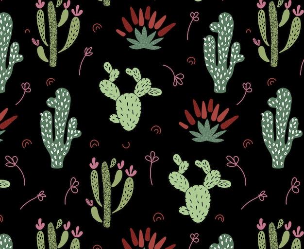 Nahtloses muster des afrikanischen kaktus der karikatur