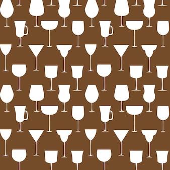Nahtloses muster des alkoholischen glases. vektor-illustration. eps 10.