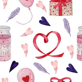 Nahtloses muster des aquarells für valentinsgrußtag