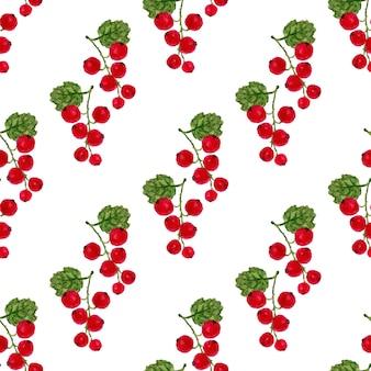 Nahtloses muster des aquarells mit roter johannisbeere. vektorfrucht-beschaffenheitshintergrund. für ein gesundes menü, verpackung oder verpackung