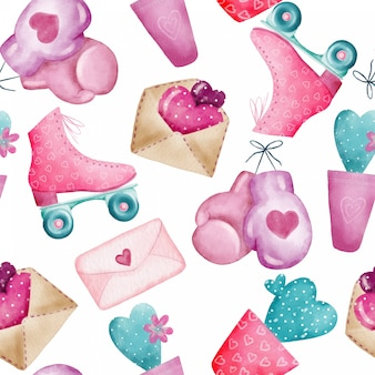 Nahtloses muster des aquarells mit valentinsgrußtageselementen