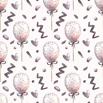 Nahtloses muster des aquarellvektors mit ballonen