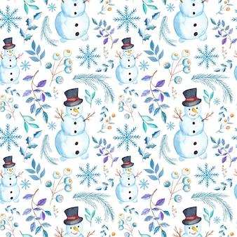 Nahtloses muster des aquarellweihnachts mit traditionellen saisonalen elementen des aquarells. kugeln, tanne, weihnachtsmann, beere