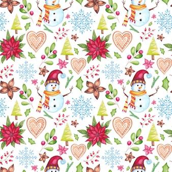 Nahtloses muster des aquarellweihnachts mit traditionellen saisonalen elementen des aquarells. weihnachtsstern, lebkuchen, kugeln, tannen, sternanis, santa