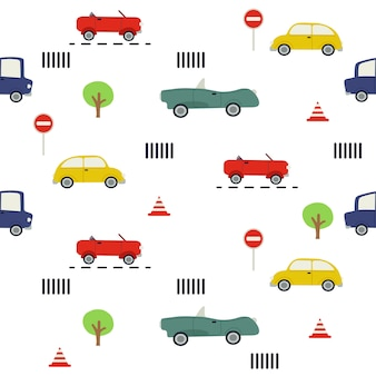 Nahtloses muster des autos. das muster von auto und verkehrszeichen