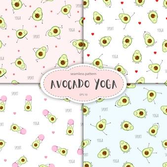 Nahtloses muster des avocado-charakters. sammlung von yoga-haltung. nette illustration für grußkarten, aufkleber, stoff, websites und drucke.