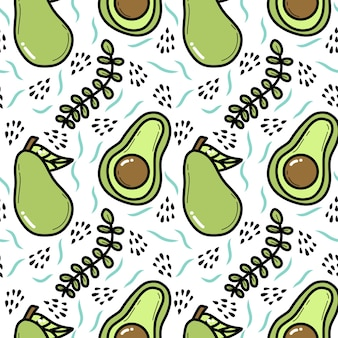 Nahtloses muster des avocado-gekritzels