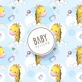 Nahtloses muster des babyhandabgehobenen betrages mit giraffe