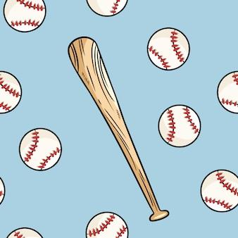 Nahtloses muster des baseballballs und des schlägers. nette gezeichnete gekritzelhand kritzelt