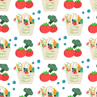 Nahtloses muster des baumwoll-öko-einkaufsnetzes mit gemüse, obst und gesunden getränken. milchprodukte in wiederverwendbarer, umweltfreundlicher einkaufstasche. kein verlust. flaches trendiges design