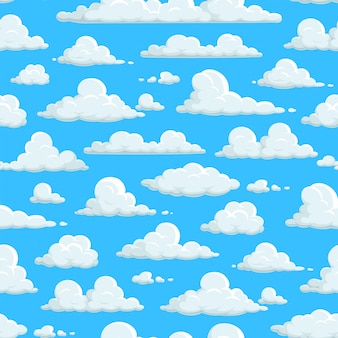 Nahtloses muster des bewölkten himmels, hintergrundtapeten der wolken. wolkenmuster auf abstraktem blauem himmelhintergrund, flauschige karikaturwolkenlandschaft, sonniges wetter natur, ostern himmel und kinderdekoration
