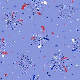 Nahtloses muster des blau-weißen und roten feuerwerks im flachen stil
