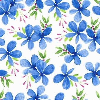 Nahtloses muster des blauen blütenblattblumenaquarells