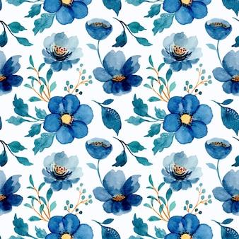 Nahtloses muster des blauen blumen mit aquarell