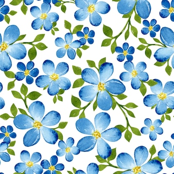 Nahtloses muster des blauen blumenaquarells mit grünen blättern