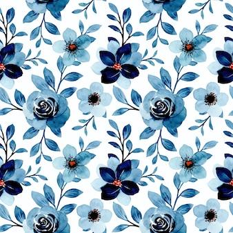 Nahtloses muster des blauen blumenaquarells