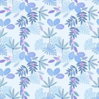 Nahtloses muster des blauen einfarbigen blattes für gewebetextiltapete.