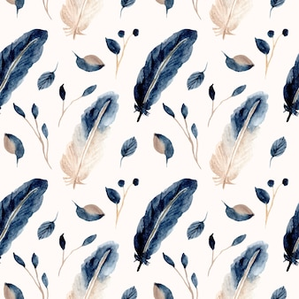 Nahtloses muster des blauen feder- und blattaquarells