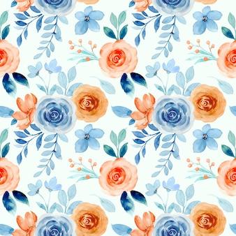 Nahtloses muster des blauen orange rosenblumenaquarells