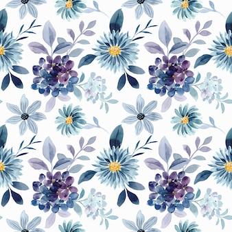 Nahtloses muster des blauen purpurroten blumenaquarells