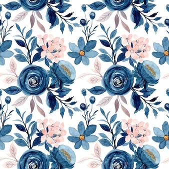 Nahtloses muster des blauen rosa blumenaquarells