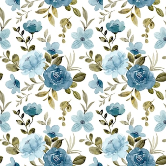 Nahtloses muster des blauen rosenblumenaquarells