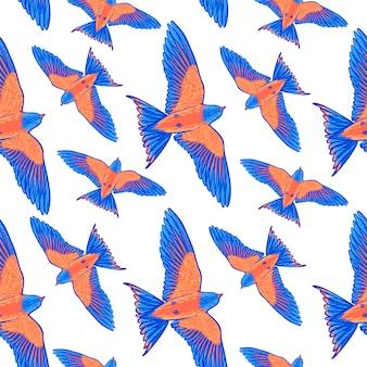 Nahtloses muster des blauen tropischen vogels auf einem weißen hintergrund.