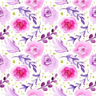 Nahtloses muster des blumenaquarells lila
