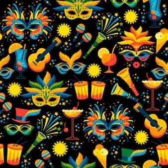 Nahtloses muster des brasilianischen karnevals