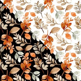 Nahtloses muster des braunen blattes des aquarells mit schwarzweiss-hintergrund