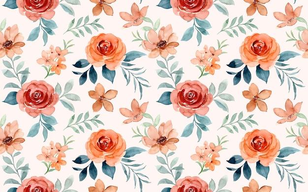 Nahtloses muster des braunen rosenblumenaquarells