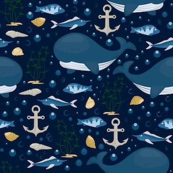 Nahtloses muster des buckelwal-charakters. seemarinesäugetier im blauen ozean