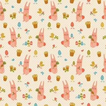 Nahtloses muster des bunten glücklichen osters mit niedlichen rosa kaninchenblumenhühnern und eiern kritzeln vektorillustration